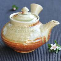 Kenji Kojima, Igayaki non-glaze wood-fired yakishime kyusu 470ml with green beedro, hand-made teapot