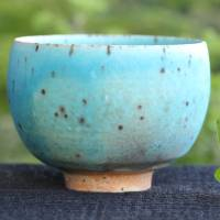 So Yamada, blue cup large size, green tea yunomi cup, Japanese Tokonameyaki pottery cup, wood-fired