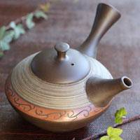 Japanese Tokonameyaki green tea teapot 320ml hand-made by Shuho Inaba(deceased), sencha kyusu