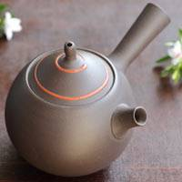 Seiji Itoh, red line on black teapot 360ml, green tea teapot made in Japan, Jinshu