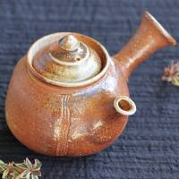 Kenji Kojima, Igayaki wood-fired yakishime kyusu 330ml, green tea sencha teapot, wood box