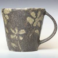 Flower Pattern Mug Cup, Coffee Cup, Pottery Tea Cup, Pure Hand-made by Masuda Emi