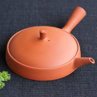 Seiji Itoh, extra-flat type red clay teapot 130ml, sencha kyusu for premium green tea, Jinshu