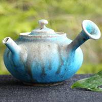 "Tokonameyaki sencha kyusu ""blue"" 150ml, hand-made wood-fired pottery teapot"