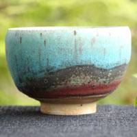 So Yamada, wood-fired blue tea cup large size 250ml, pottery yunomi chawan, Tokonameyaki