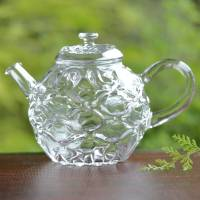 "Hand-made Heat-resistant Glass Teapot ""Diamond"" by Ryuta Mizukami"