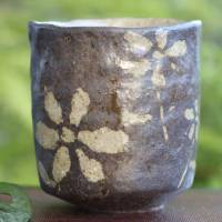 Emi Masuda, flower pattern black yunomi green tea cup vertical type 230ml, tebineri hand-made