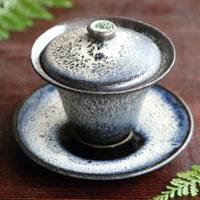 Hand made by Koichi Ohara, kokushiyu gaiwan, chinese style tea server, pottery cup with lid 110ml