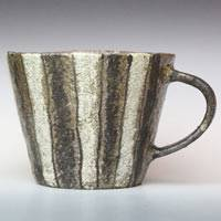 Black and White Stripe Mug Cup, Coffee Cup, Pottery Tea Cup, Pure Hand-made by Masuda Emi