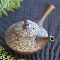 Shuho Inaba(deceased) nunome(cloth) pattern sencha kyusu 230ml, pure hand-made Tokonameyaki