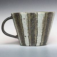 Emi Masuda, black and white stripe mug cup, coffee cup, pottery teacup