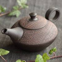 Shuho Inaba(deceased) red cloth pattern sencha kyusu 230ml, Japanese Tokonameyaki teapot