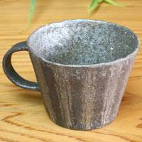 Emi Masuda, black stripe mug cup, coffee cup, pottery teacup 280ml