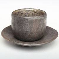 Emi Masuda, tebineri made small tea cup with tea cup saucer 70ml, chinese tea cup, gyokuro cup