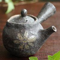 Emi Masuda, flower pattern black teapot, small teapot 110ml, gyokurocha kyusu, chinese tea teapot