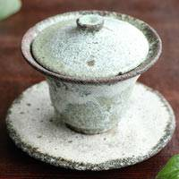 Koichi Ohara, seihakuyu gaiwan, chinese style tea server 120ml, ceramic tea cup with lid