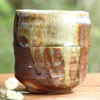 Kenji Kojima, Japanese Igayaki wood-fired yunomi-chawan, large green tea teacup, pure hand-made