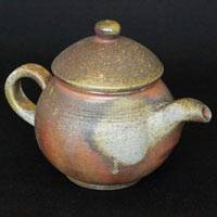 Japanese Bizenyaki sencha kyusu, Fumiharu Kino, wood-fired back-handle type teapot 200ml