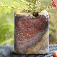 Hiroaki Omori, non-glazed Japanese Bizenyaki wood-fired square pottery flower vase, bud vase