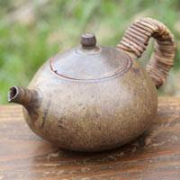 Yusuke Wakasa, can directly boil water, simmer tea 420ml, fire resistant pottery teapot, wood box