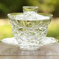 """Diamond"" Gaiwan Made of Heat-resisitance Glass, by Ryuta Mizukami, Glass Tea Cup, Gaiwan"