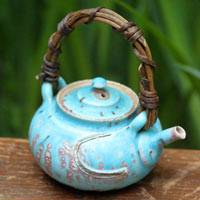 So Yamada, blue dobin, Japanese tea teapot 160ml, wood-fired sencha kyusu, small green tea teapot