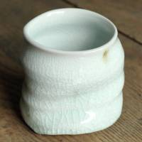 Kenji Kojima, white glazed yunomi cup, pottery teacup, beer cup 350ml