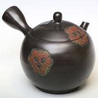 Hand-made by Kousho, Japanese Tokonameyaki teapot 290ml, red flower pattern