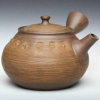 Toju, Tokonameyaki pottery side-handle Japanese style teapot, sencha green tea kyusu 320ml