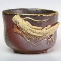 Teruhiko Omori, wood-fired white dragon pottery cup 100ml, Japanese Bizenyaki, guinomi