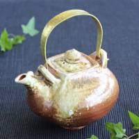 Kenji Kojima, Igayaki dobin, non-glazed wood-fired pottery teapot, very big kyusu,large teapot 1L