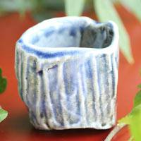 Wood-fired Salt Glazing Blue Cup  Tanbayaki Pottery 70ml Pure Hand-made by Takeshi Shimizu