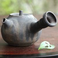 Koichi Ohara, black glazed sencha kyusu, Japanese pottery teapot for green tea 230ml
