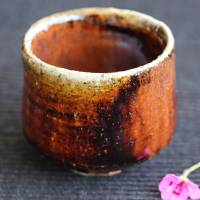 Youhen Iron Glazed Pottery Cup 80ml, Pure Hand-made by Takeshi Shimizu, Tanbayaki Guinomi