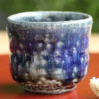 Japanese Tanbayaki, wood-fired salt glazing pottery cup, pure hand-made by Takeshi Shimizu