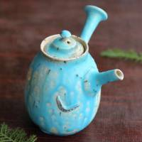 So Yamada Blue Teapot side-handle type, gyokurocha sencha kyusu 140ml