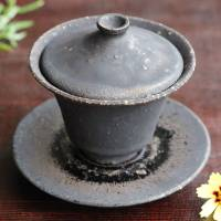 Koichi Ohara, Black-glazed gaiwan, Chinese style tea server, tea cup with lid, wood-box