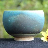 So Yamada, blue yunomi tea cup L-size, green tea cup, Japanese Tokonameyaki