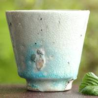 "So Yamada, pottery cup ""blue"", wood-fired cup 55ml, wood box"