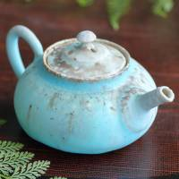 Back handle type blue teapot, small pottery teaware, wood-fired sencha kyusu 130ml, Sou Yamada