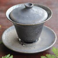 Kokuyu black-glazed gaiwan, Chinese style tea server 130ml. Kouichi Ohra