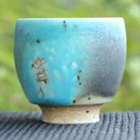 "So Yamada, ""blue"" small sencha-wan, pottery green tea cup, Japanese Tokonameyaki teaware"