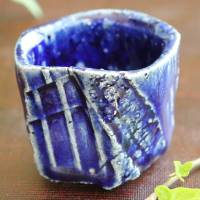 Takeshi Shimizu, salt glazed blue cup, Japanese Tanbayaki wood-fired pottery cup 70ml