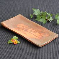 Yoshinobu Morimoto, Japanese Bizenyaki wood-fired pottery pottery plate, tea tray, fish plate