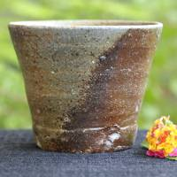 Japanese Bizenyaki pottery yunomi 180ml, Yoshinobu Morimoto, wood-fired green tea cup