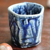 Takeshi Shimizu, wood-fired salt glazed cup, Japanese Tanbayaki guinomi 60ml