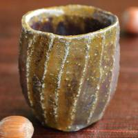 Stone-black glazed, Japanese Tanbayaki wood-fired pottery cup 70ml, Takeshi Shimizu, guinomi