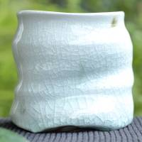 ​Kenji Kojima, white glazed green tea yunomi cup, Japanese Igayaki pottery 340ml, beer cup