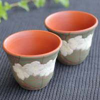 Whole Sakura Carving Sencha Teacup (Set of 2) Hand-made by Motozo, Green Tea Cup