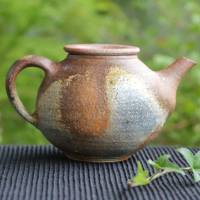 Kenji Kojima, back-handle type yakishime teapot, Japanese Igayaki pottery kyusu 330ml, wood-fired
